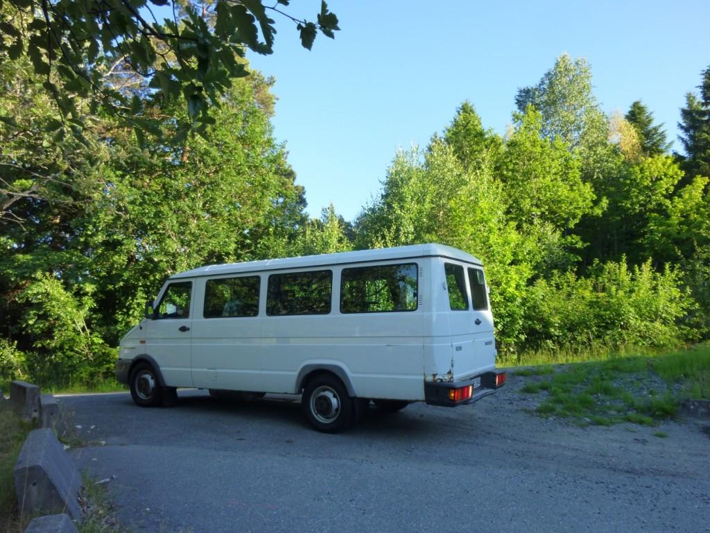 Leigebilen me hadde under sumarleiren i Arendal i 2010.